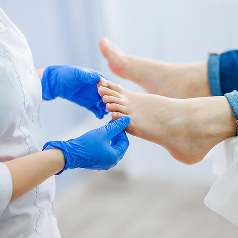 patient receiving podiatric treatment